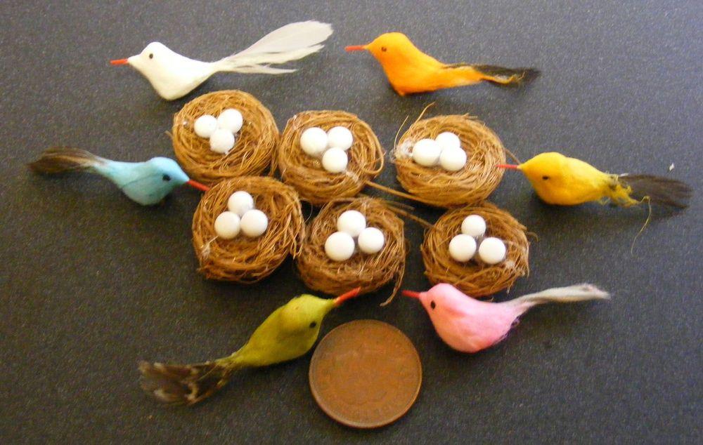1:12 Dolls House Miniature Hand Made Bird With Nest & Eggs Garden Accessory