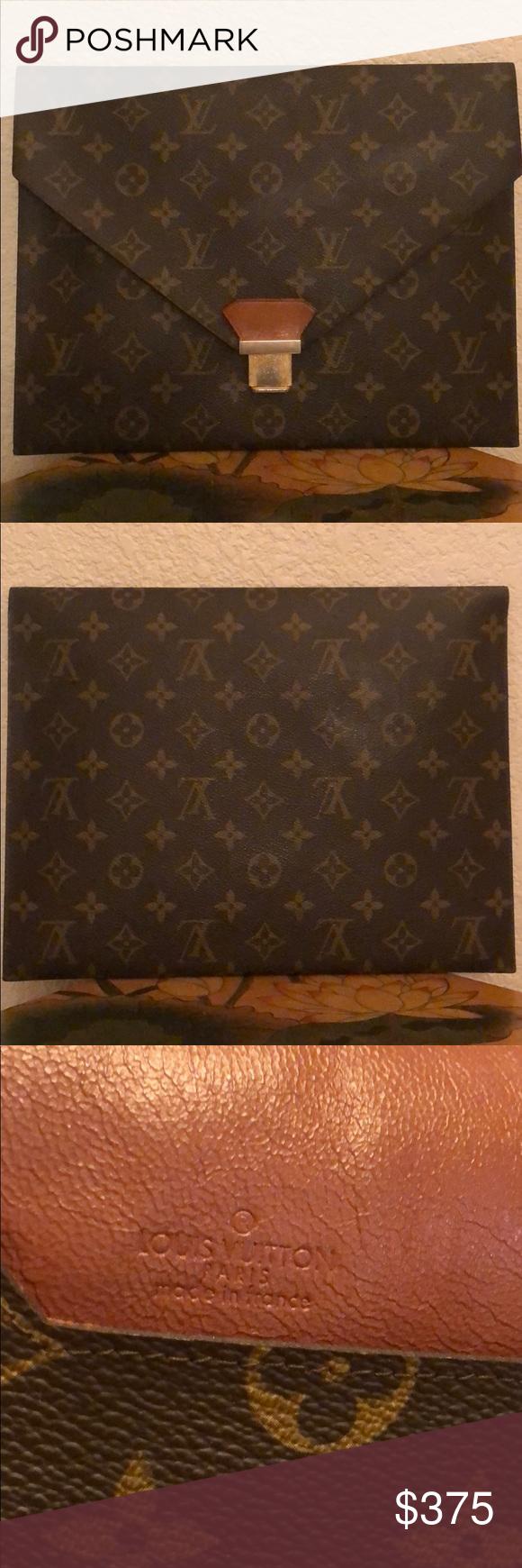 Authentic Vintage Lv Envelope Document Clutch Vintage Louis Vuitton Bag Clutch