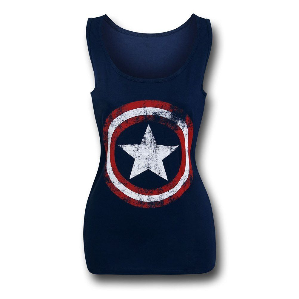 NEW OFFICIAL Marvel Captain America Blue Ladies Womens Tank Top Vest Top