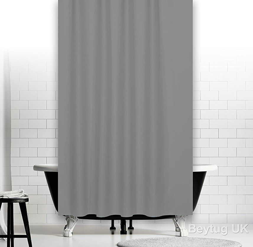 Plain Grey Fabric Shower Curtain, Extra Wide and Long 240 x 200CM ...