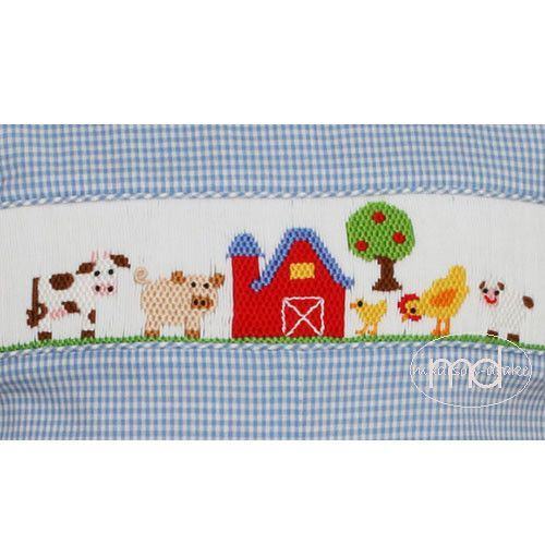 c60234075 Petit Bebe Farm Animals Smocked Blue Gingham Baby Boys Longall. Blue gingham  straight bubble features a cow, chickens, pig, apple tree and a red barn.