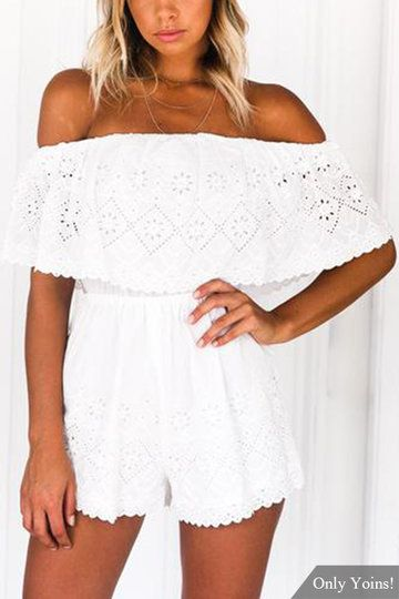 07aa8d7f4b Off-The-Shoulder Lace Eyelet Playsuit in White
