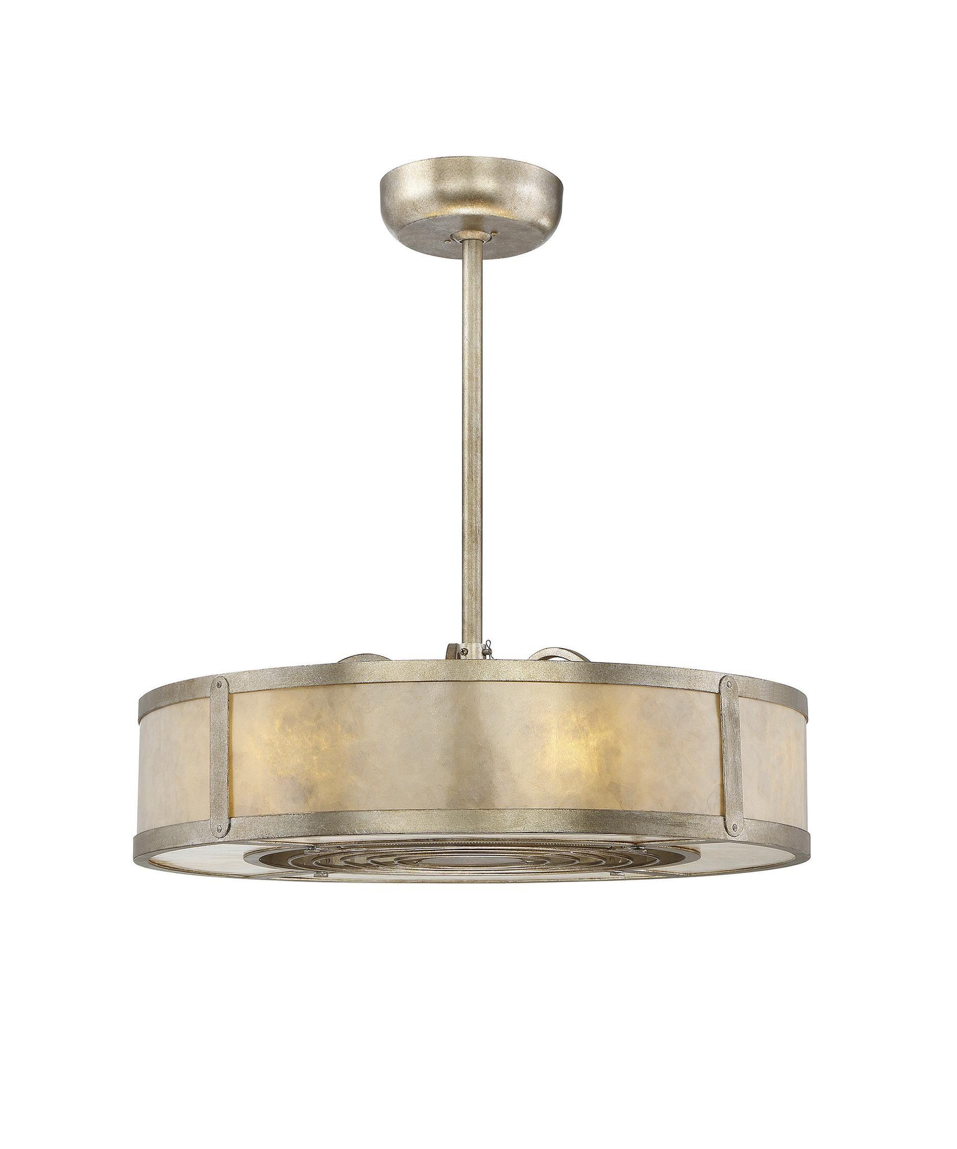 Ceiling fan chandelier Shown in Silver Dust finish Cream Mica