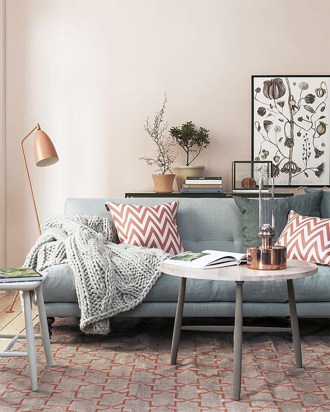 Robin Egg Blue Sofa And Blush Walls Living Room Scandinavian Home Home And Living
