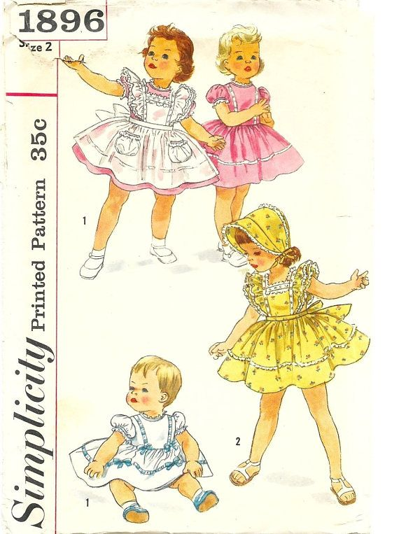 9dd6c4fa84fe Vintage 1950 s Sewing Pattern Toddlers Dress Pinafore   Bonnet Age 2 ...