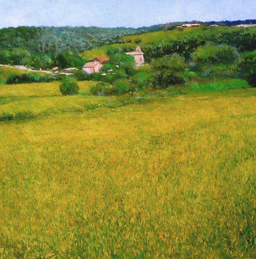 Cuadro al leo de un paisaje de flores amarillas en mollet - Casas mollet del valles ...