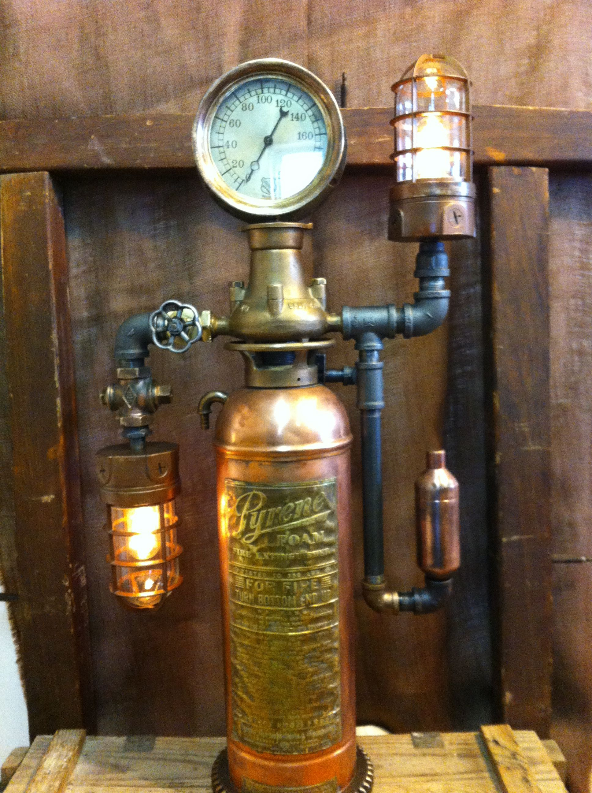 by steamage design steampunk fire extinguisher lamp sold 1 150 steampunk lamps pinterest. Black Bedroom Furniture Sets. Home Design Ideas
