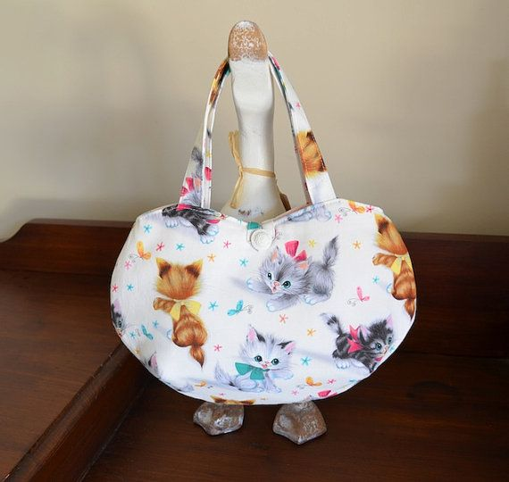 Girls kitten fabric tote bag with bows and by RobynFayeDesigns