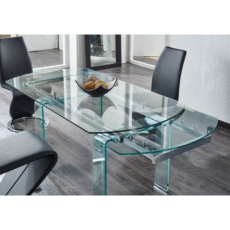 Wilcox Extendable Dining Table Glass Dining Table Contemporary Dining Room Tables Glass Dinning Table