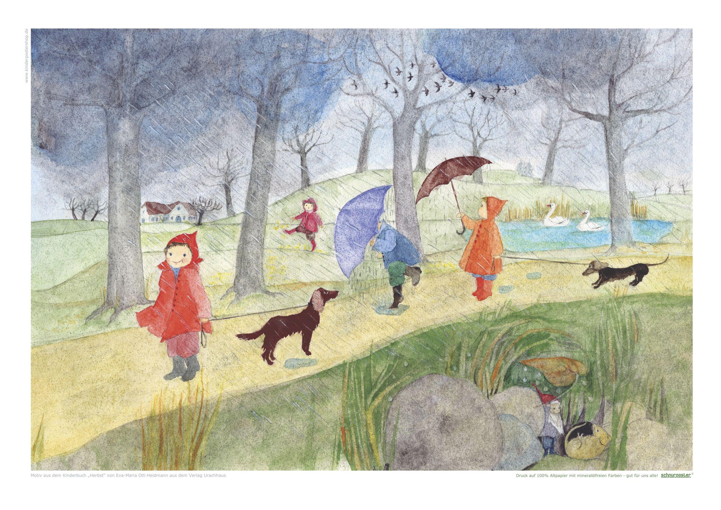 c946c455275b29 Poster im ÖKO-DRUCK mit Illustration von E.M.Ott-Heidmann aus Kinderbuch  Herbst
