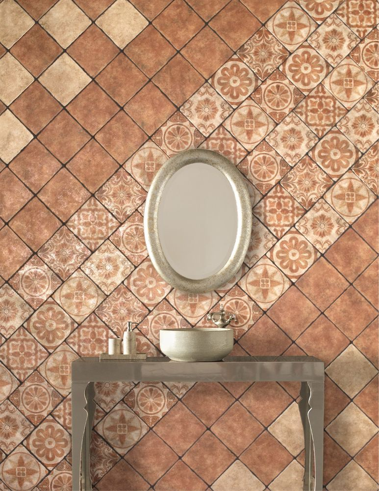20x20 SQUIGGLY EDGED TERRACOTTA VINTAGE CERAMIC WALL & FLOOR TILES ...