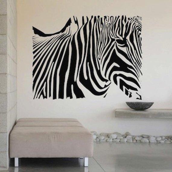 zebra rectangle wall decal, zebra wall decal, animal wall decal