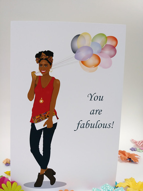 Birthday Card African American Women Stylish Woman Natural Hair