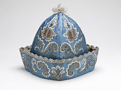 Men's Nightcap, First half of the 18th century. Colorful, elaborately embroidered nightcaps such as these were popular at-home wear for men in the 18th century, good for keeping the head warm during chilly evenings.