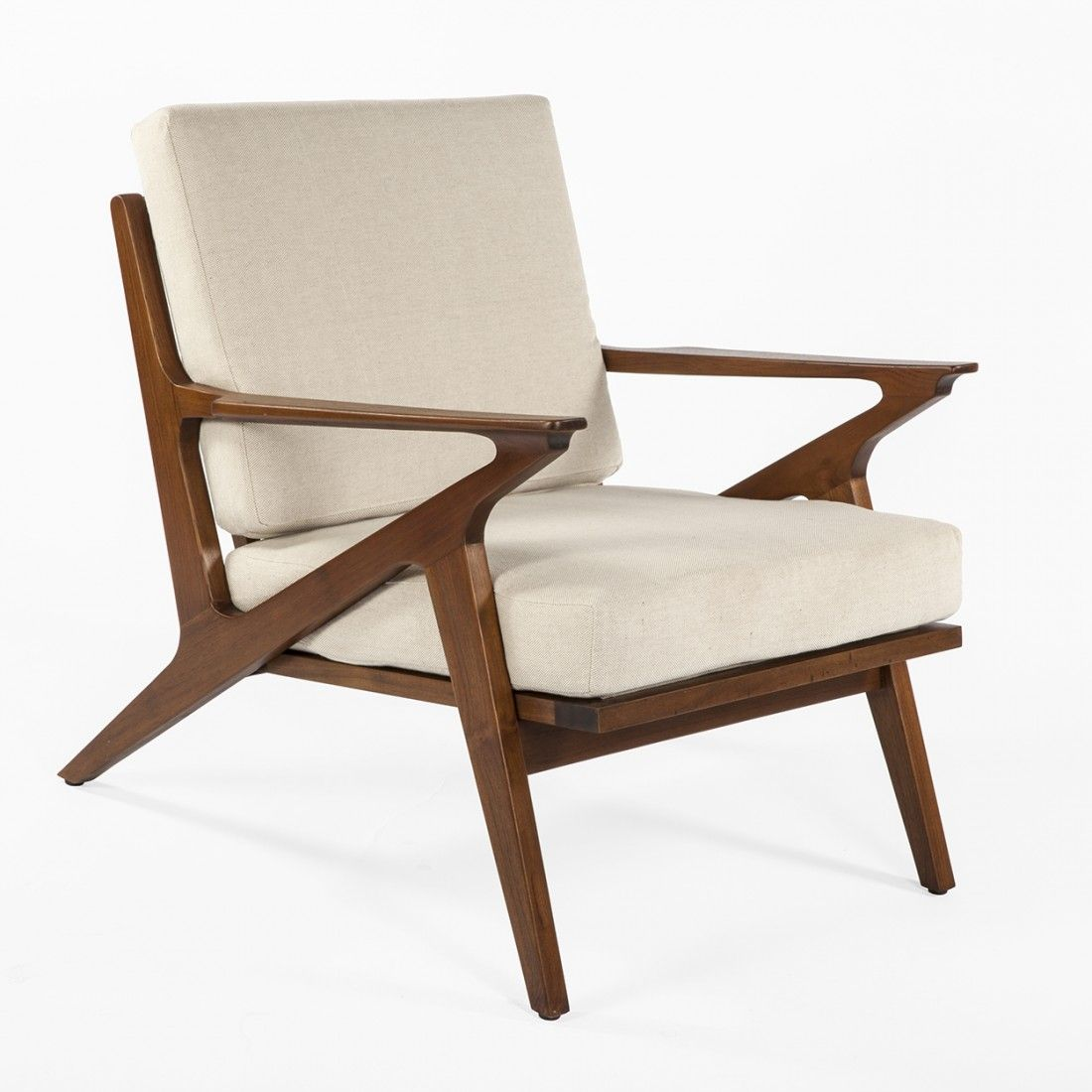 Mid century modern furniture reproductions - Mid Century Replica Mid Century Poul Jensen Z Lounge Chair With Teak Finish Beige