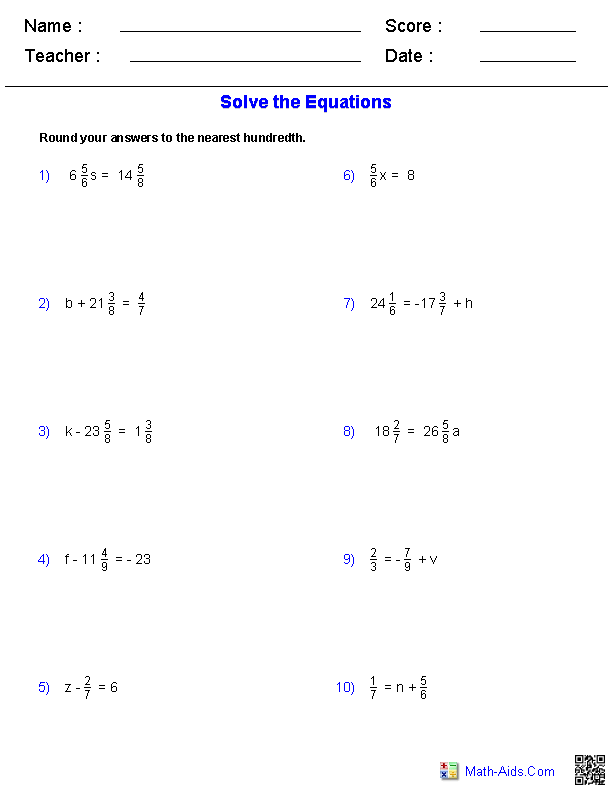 One Step Equations Worksheets Containing Fractions | Math-Aids.Com ...