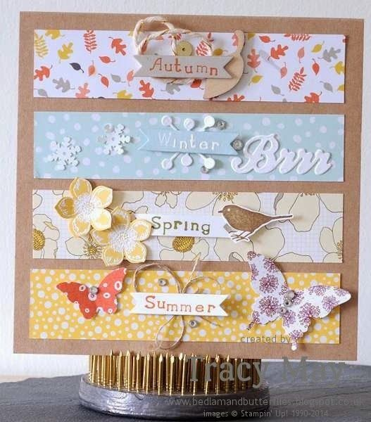 Stampin up DSP four seasons card for card swap challenge. Tracy May Bedlam & Butterflies