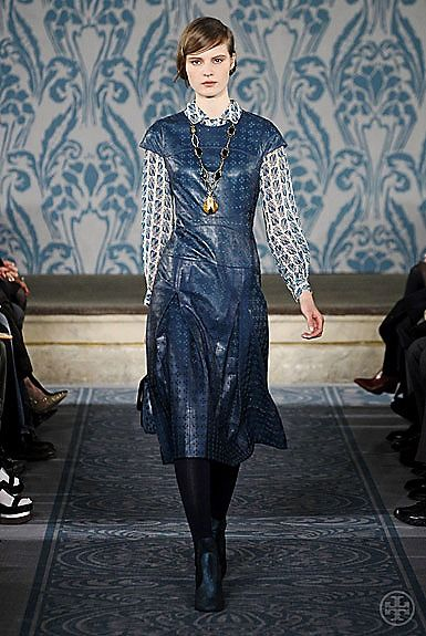 Tory Burch Fall 2013 #ToryFall13  Dress with blouse underneath