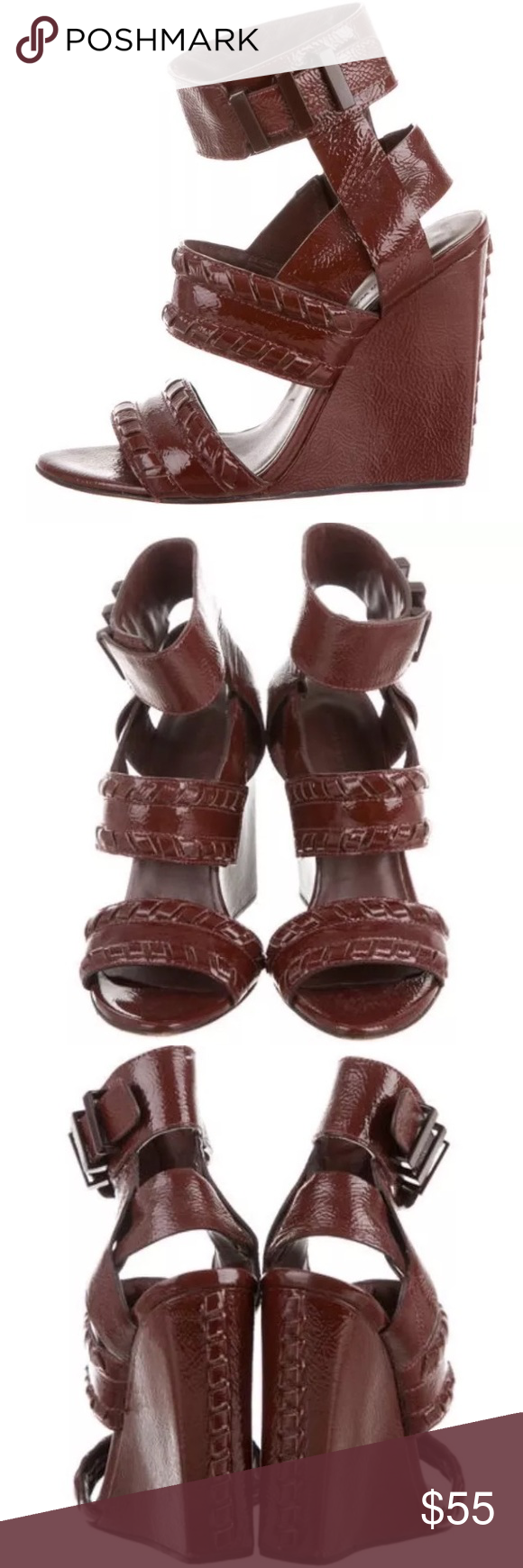 Alexander Wang patent leather wedge heels Gorgeous burgundy patent leather wedges with beautiful stitching details. Perfect for all seasons! Very comfortable. No visible signs of wear except on the soles. Original retail: +$450 Alexander Wang Shoes Wedges