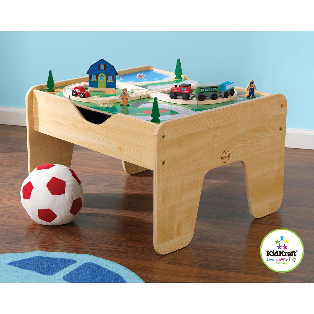 KidKraft 2-in-1 Activity Table with Building Blocks and Train Sets ...