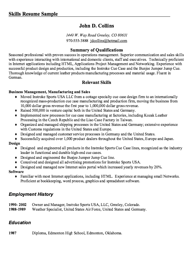 Skills Resume Sample - http://resumesdesign.com/skills-resume-sample ...