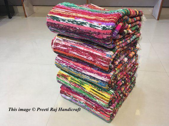 5 PCS Handmade Rag Rug Runner, Chindi Rug, Hippie Rug