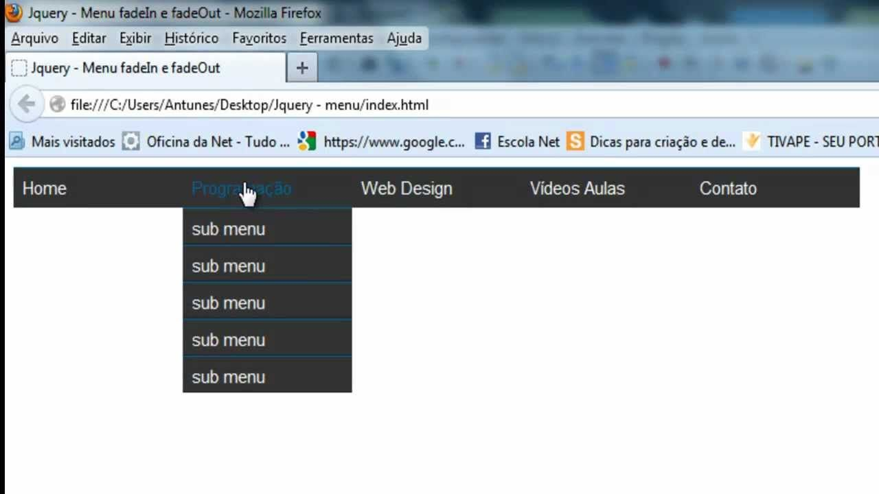 Jquery - Menu fadeIn e fadeOut | Web design, Aulas, Design