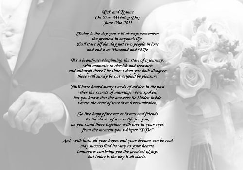 A4 Personalised Poem On Your Wedding Day Gift Keepsake Wedding Scrapbook On Your Wedding Day Wedding Day