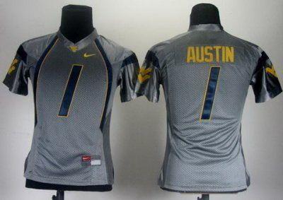 Women NEW West Virginia Mountaineers 1 Tavon Austin Grey College Football NCAA Jerseys