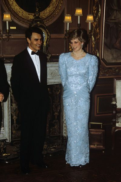 Diana, Princess of Wales chats with Portuguese Prime Minister Anibal ...