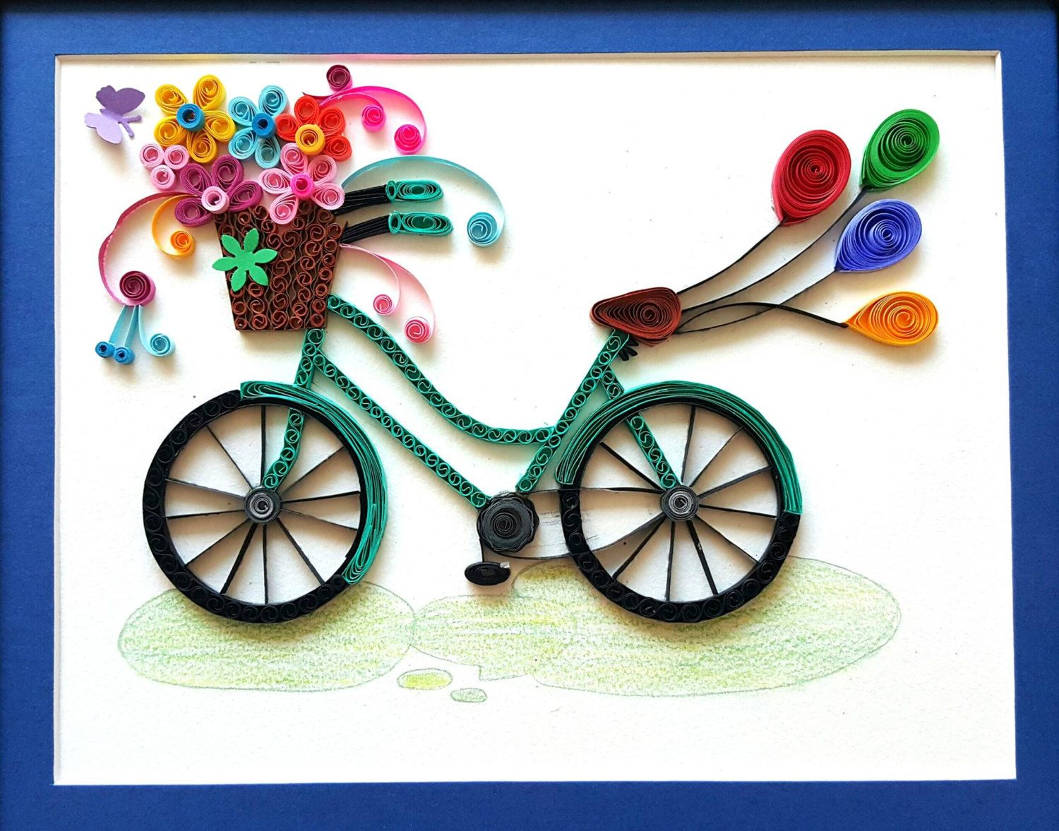 Paper quilled bicycle frame bicycle nursery bicycle wall for Quilling home decor