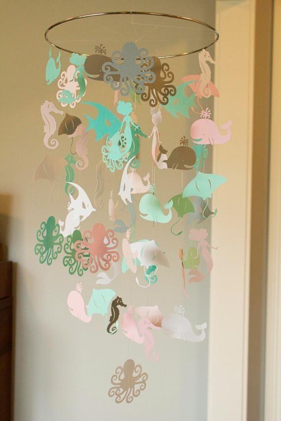 Rose, vert d'eau et blanc océan papier Crèche Mobile, mobile de cercle moderne, lit géométrique mobile, mobile, teen chambre de bebe, chambre d'étudiant images