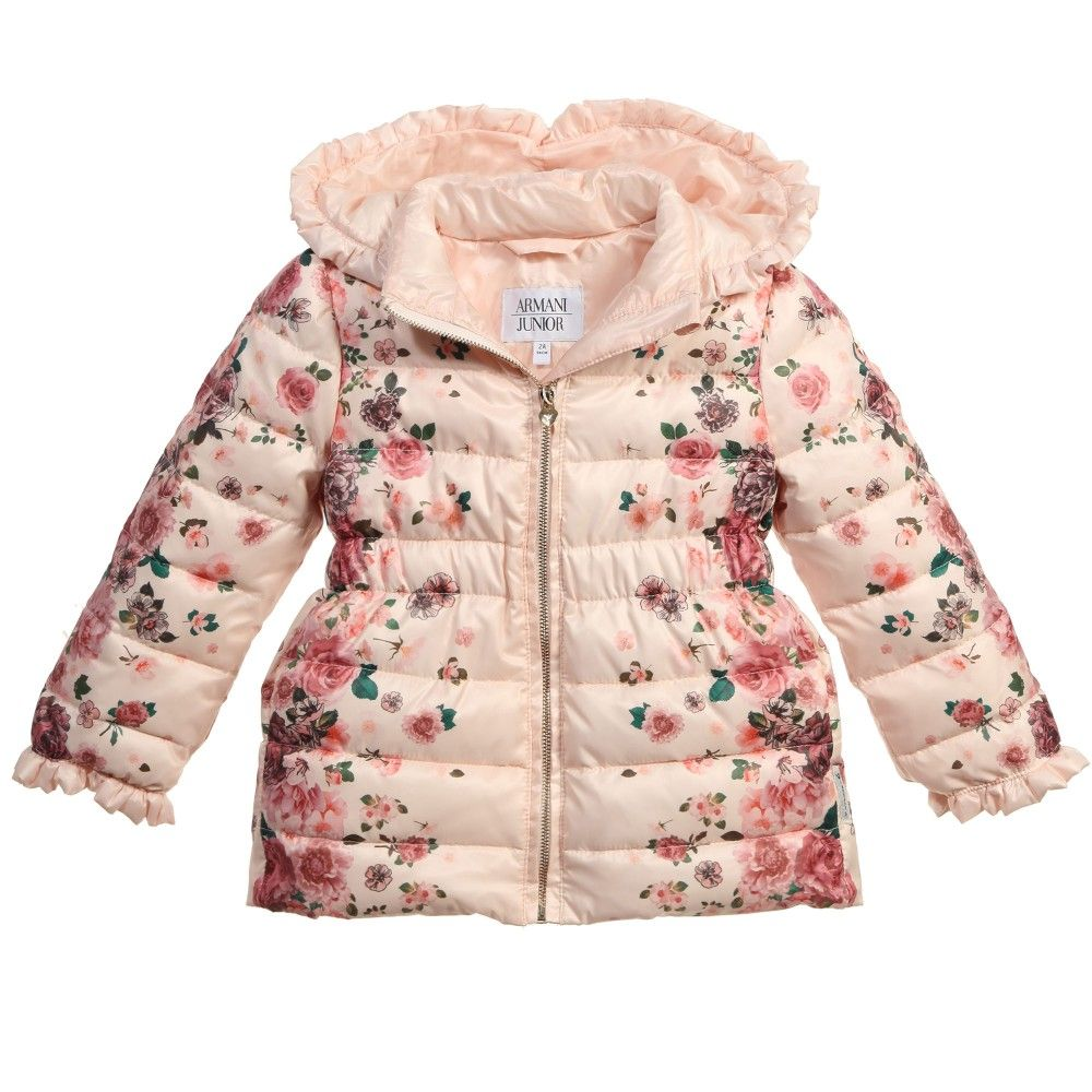 Girls Pink Floral Puffer Jacket, Armani, Girl | Closet do filhote ...