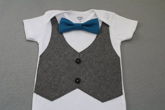 d15f5a37a Teal Bow Tie Onesie with Gray Tweed Vest for Baby Boy