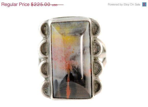 Vintage Navajo Petrified Wood Ring on Etsy, $191.25