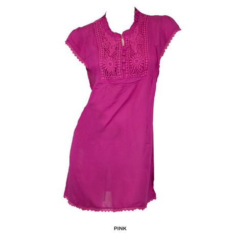 Women Summery Woven Dress with Button & Crochet Detailing