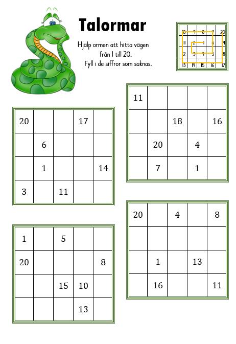 Talormar 1-20 med tillhörande facit | Matematik | Matematik ...