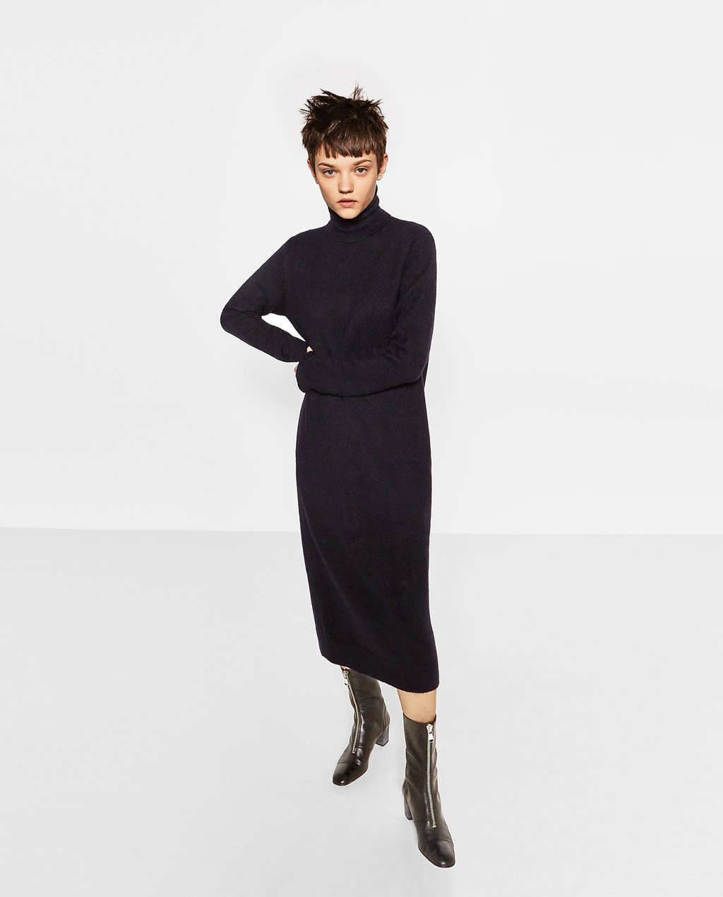 706848d2 Image 1 of ROLL NECK LONG DRESS from Zara | Style and Trends ...