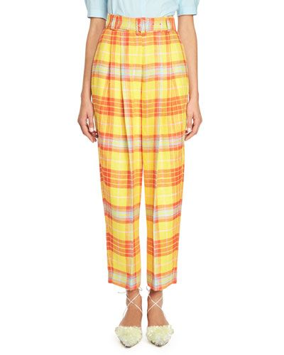 Belted Pleated Plaid Pants, Yellow/Orange