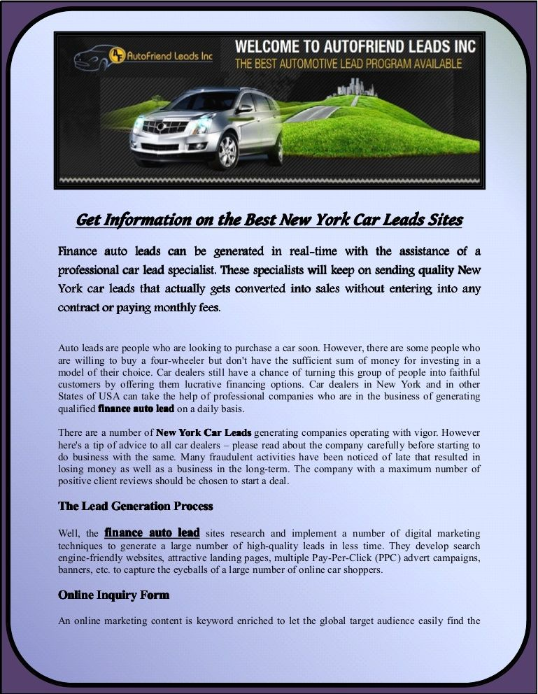 Get Information on the Best New York Car Leads Sites Auto Leads - automobile sales contract