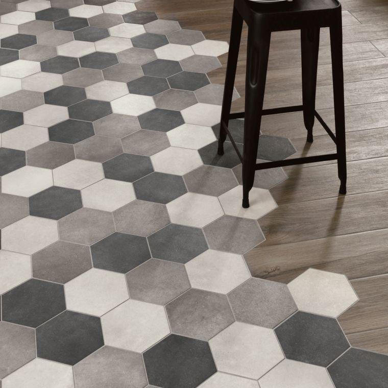 Idee De Sol En Carreaux Et Bois Avec Jonction Carrelage Parquet En Joint De Finition Flooring Hexagon Tiles Kitchen Flooring
