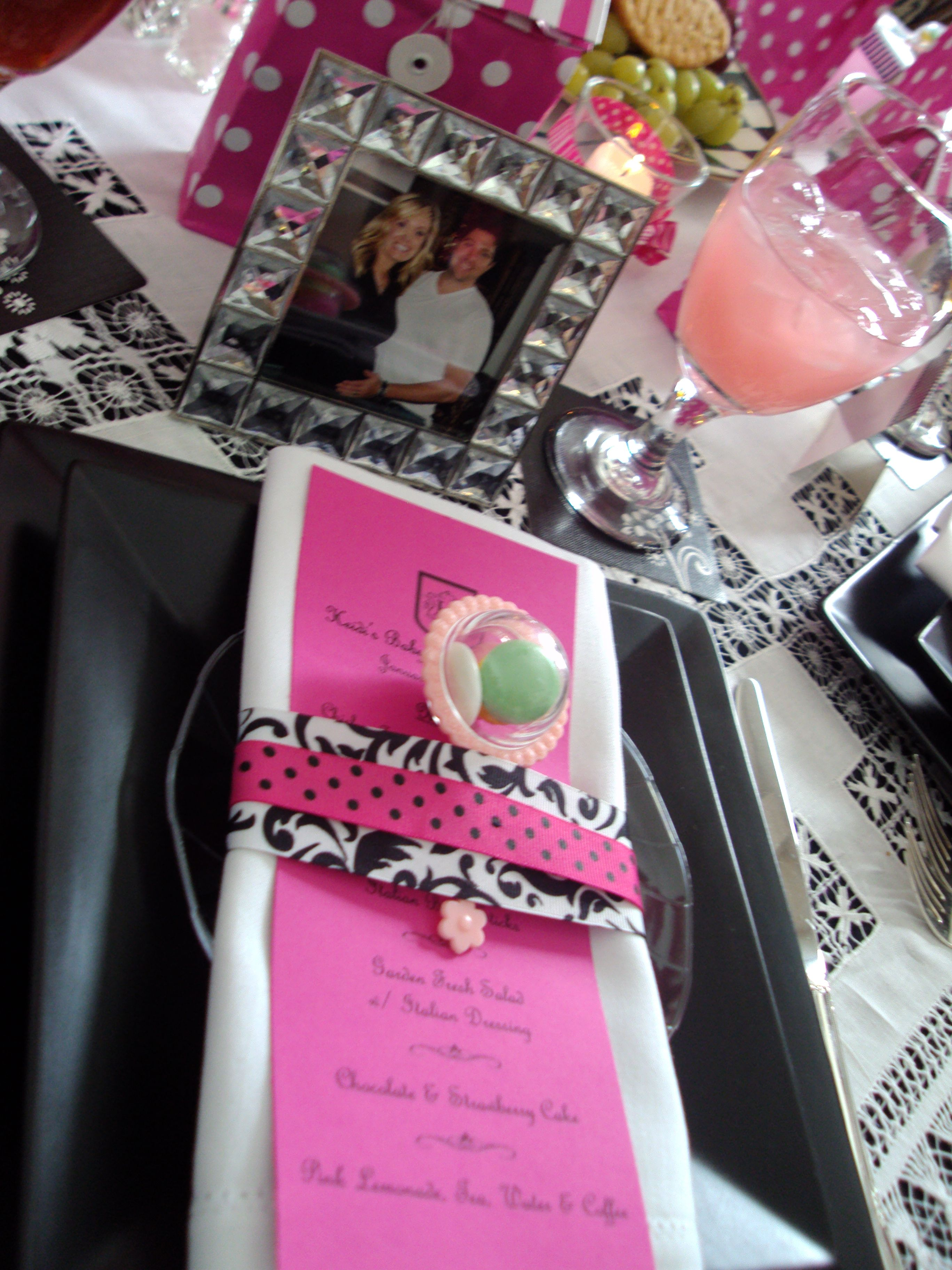 Hot Pink \u0026 Black Baby Shower Table Setting | Centerpieces \u0026 Table ...