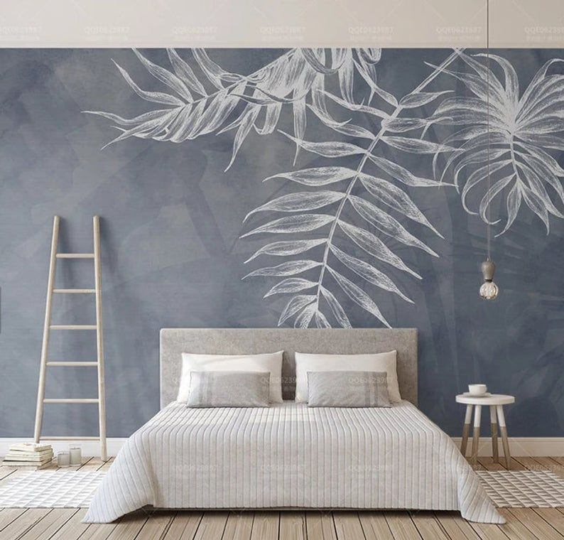 3d White Leaves Removable Wallpaperpeel And Stick Wall Etsy Wall Painting Living Room Bedroom Wall Home Wallpaper