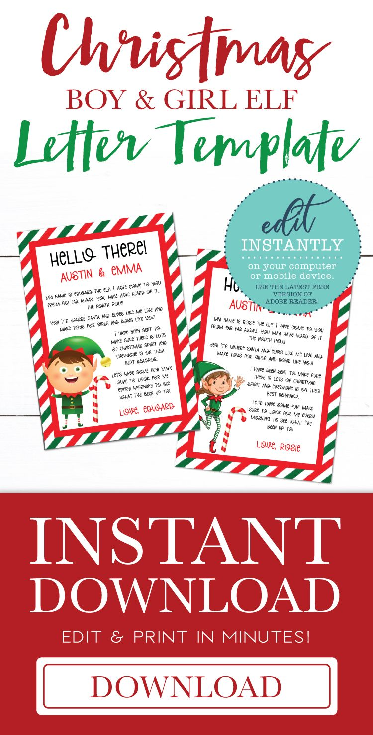 Elf Letter Editable Christmas PDF Template Elf letters