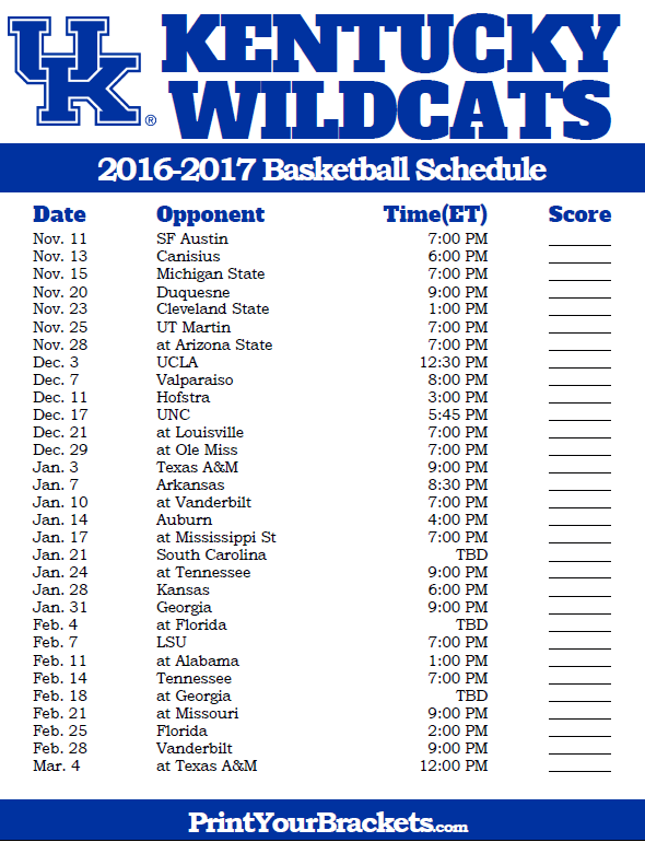 photograph relating to Kentucky Basketball Schedule Printable identified as Kentucky Wildcats 2016-2017 Faculty Basketball Timetable