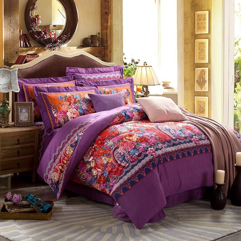 Purple Red and Pink Bohemian Indian Tribal Paisley Park ...
