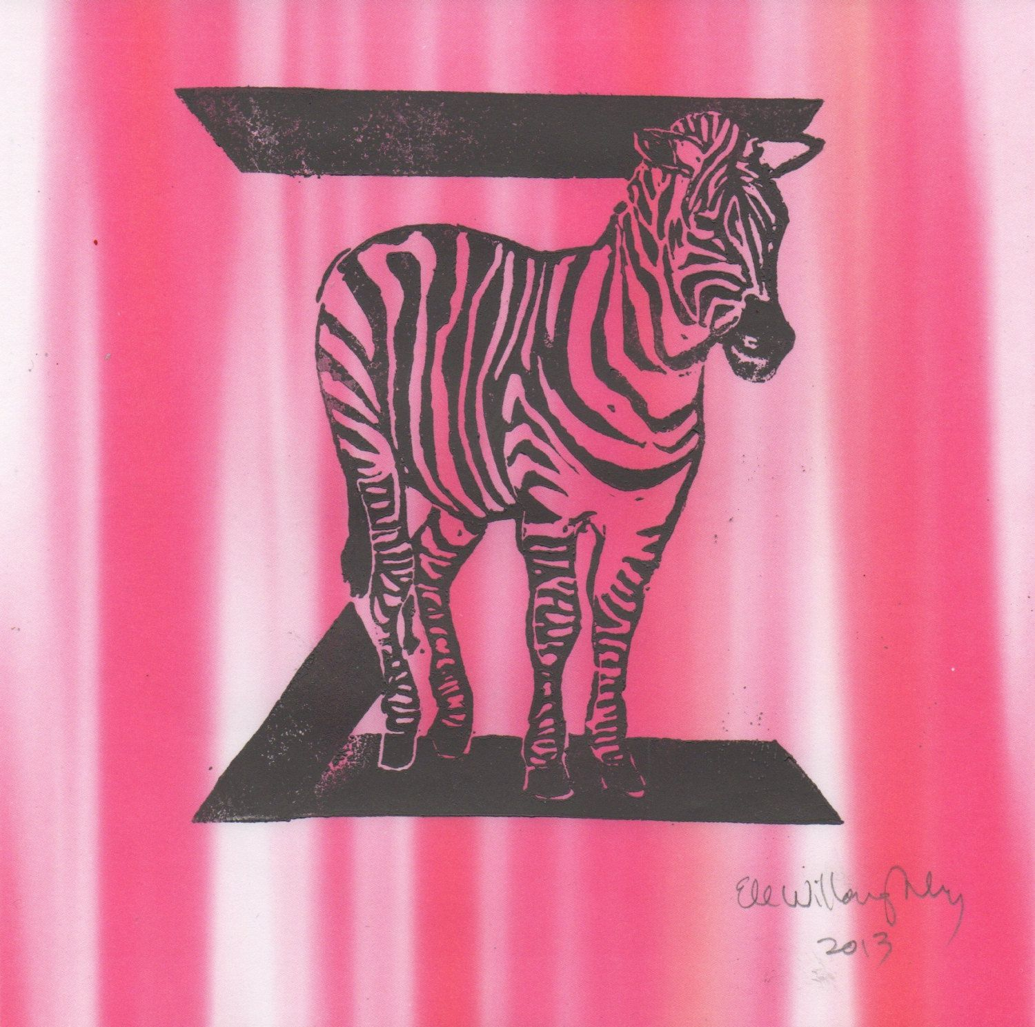 New to minouette on Etsy: Zebra Z Monogram Linocut - Alphabet Typographic Lino Block Print with Animals Z is for Zebra (20.00 USD)
