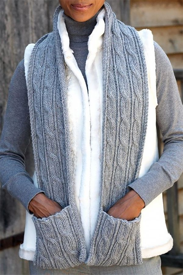 Cabled Scarf with Pockets in Patons Classic Wool Worsted ...