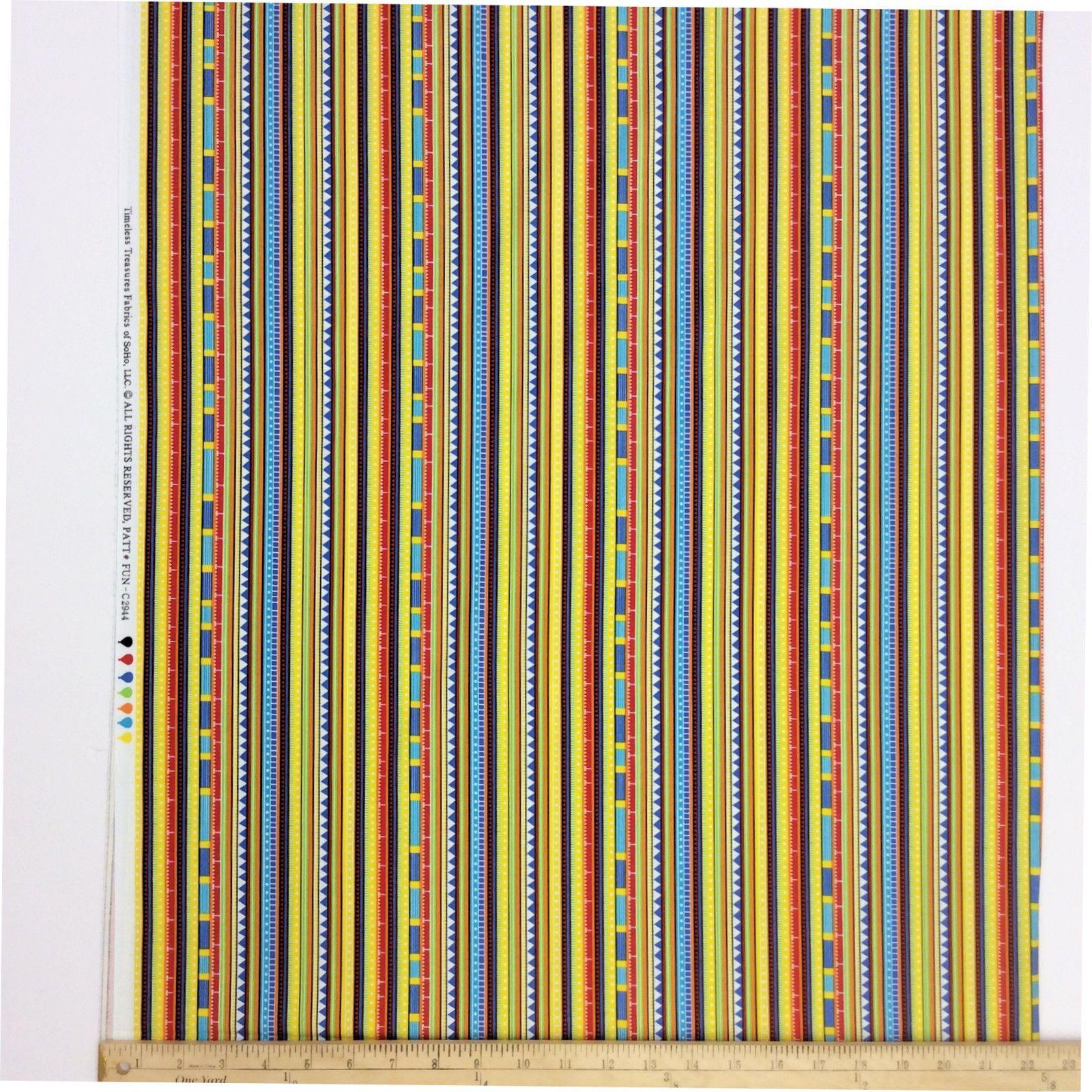 Multi Color Geometric Striped Fabric Yellow Cotton