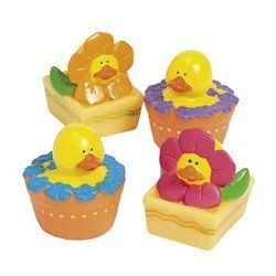 """12 ct - Spring Flower Rubber Duck Ducky Duckies. 12 assorted spring flower rubber ducks. Vinyl. Size: 2"""" x 2.5"""". Duckies do not float upright. N/A."""